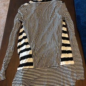 Three Dots Tops - Three Dots Black and White Wrap Size M